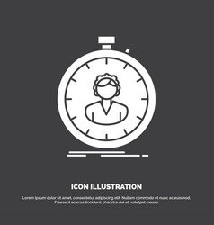 Fast speed stopwatch timer girl icon glyph symbol vector