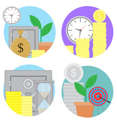 Financial investments and savings icons set vector