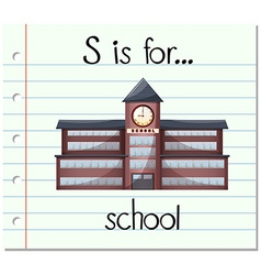 Flashcard letter S is for school vector image