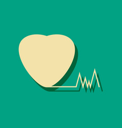 Flat icon design collection heart with cardio in vector