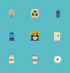 Flat icons mug french press seed pack and other vector