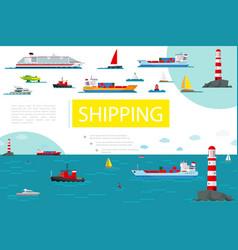 flat sea transportation composition vector image