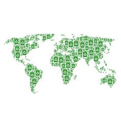 Global map collage of recycle bin items vector