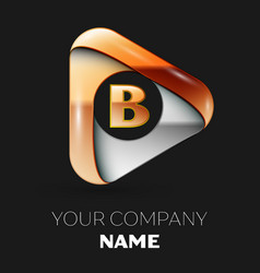 golden letter b logo in golden-silver triangle vector image