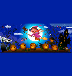 halloween cute witch on a broom vector image