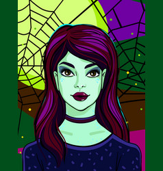halloween witch with green skin vector image