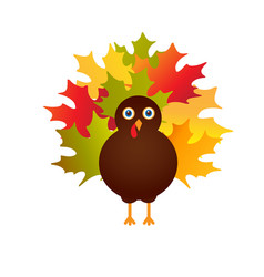 Happy thanksgiving with turkey card vector