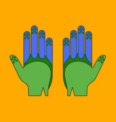 Icon in flat design golf gloves vector