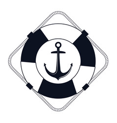 Icon lifebuoy nautical label isolated vector