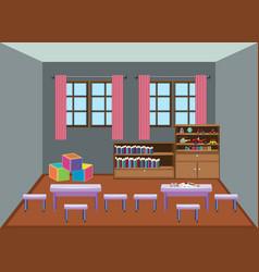 Interior kindergarten school classroom vector