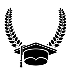 Isolated graduation cap inside wreath design vector
