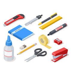 Isometric office tools school stationery and vector