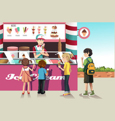 Kids buying ice cream vector