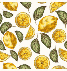 lemons and leaves hand drawn seamless vector image