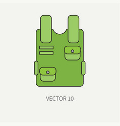 Line flat color military icon bulletproof vector