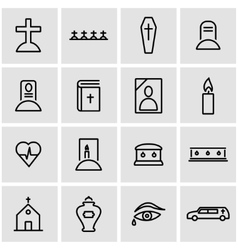 Line funeral icon set vector
