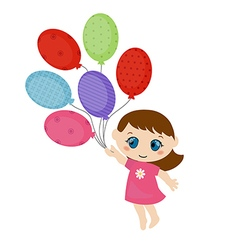 Little girl running with balloons vector image