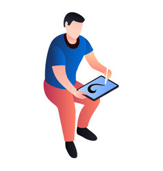 man drawing at tablet icon isometric style vector image
