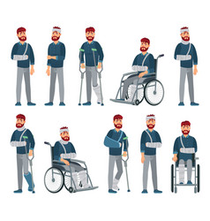 Man with injury wheelchair with broken arm vector