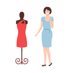 mannequin with red dress and pretty woman vector image