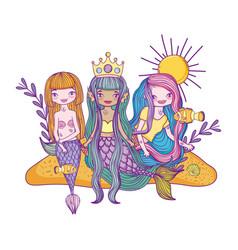 Mermaids fantasy cartoons vector