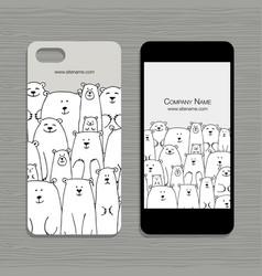 Mobile phone design polar bears family vector