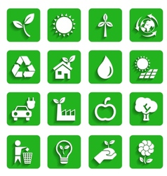 Modern Ecology Icons with Shadow vector image