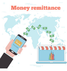 Money remittance concept in line art style vector