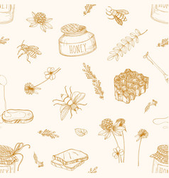 monochrome seamless pattern with honey bees vector image