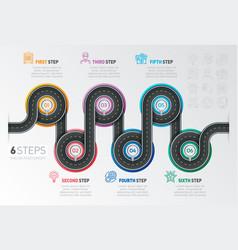 navigation map infographic 6 steps timeline vector image
