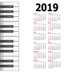 new calendar 2019 with a musical background piano vector image