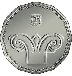 Obverse Israeli silver money five shekel coin vector