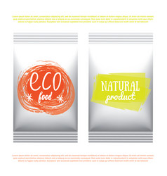 Organic food meal and drink packaging vector
