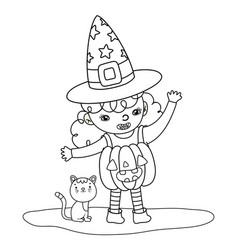 Outline pumpkin girl costume wearing hat with cat vector