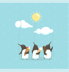 Penguins eating ice cream holding balloons vector