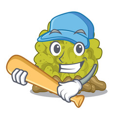 Playing baseball green coral reef in character vector