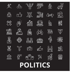 politics editable line icons set on black vector image