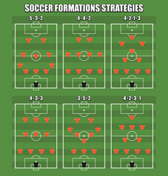 popular modern soccer formations collection vector image