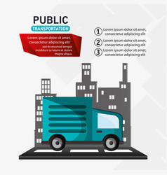 Public transport truck delivery infographic vector