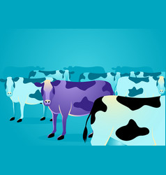 purple cow stand out from ordinary cows vector image
