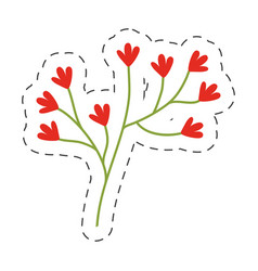 Red flower ornate image cut line vector
