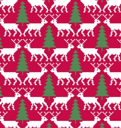 reindeer and trees seamless pattern vector image