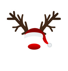 Reindeer antlers and santa hat vector