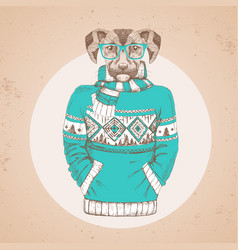 Retro hipster animal dog dressed in pullover vector
