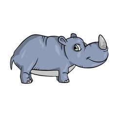 rhinoceros on white background cute cartoon vector image