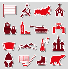 Russia country theme symbols stickers set eps10 vector image vector image