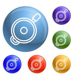 saute fry pan icons set vector image