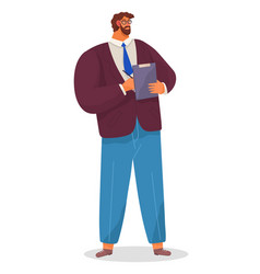 Serious man bearded businessman dressed formally vector