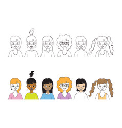 set cute girls hand drawn outline style design vector image