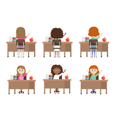 Set girls students in the desk with education vector